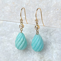 Sincerely Ginger Jewelry Amazonite and Rose Cut Diamond Drop Earrings in 14-Karat Gold