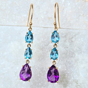 Sincerely Ginger Jewelry Amethyst and Topaz Drop Earrings in 14-Karat Gold