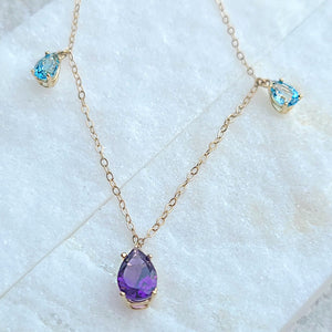 Sincerely Ginger Jewelry Amethyst and Blue Topaz Dangle Necklace in 14-Karat Gold