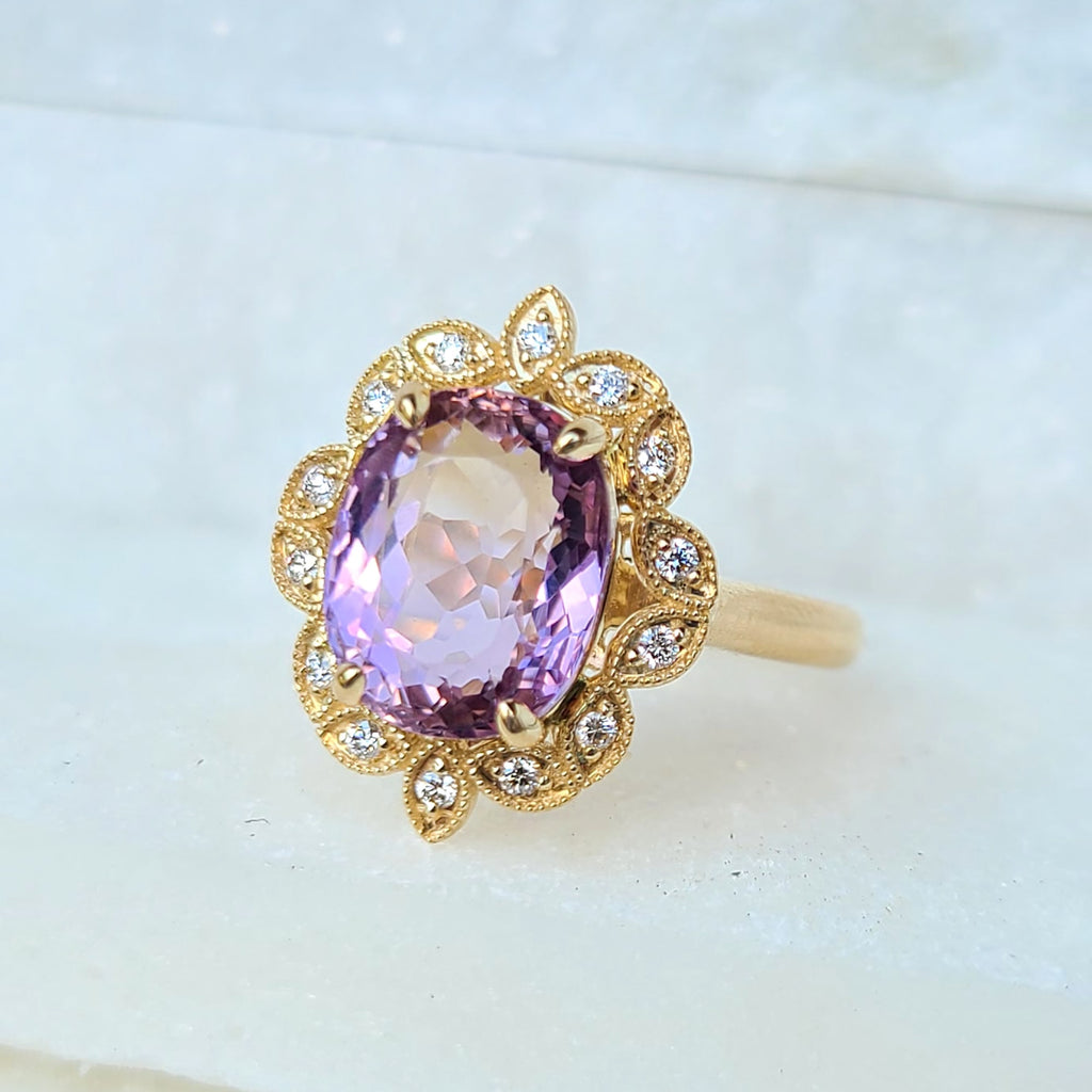 Sincerely Ginger Jewelry Ametrine Diamond Cocktail Ring 14-Karat Gold