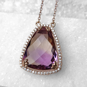 Sincerely Ginger Jewelry Ametrine and Diamond Necklace in 14-Karat Rose Gold