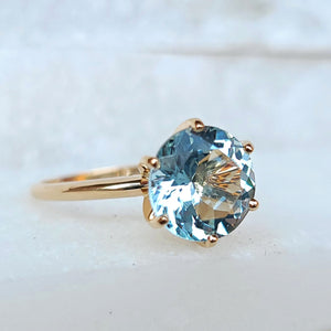 Sincerely Ginger Jewelry Jumbo Aquamarine Engagement Ring in 14-Karat Yellow Gold