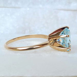 Sincerely Ginger Jewelry Jumbo Aquamarine Engagement Ring in 14-Karat Yellow Gold Side