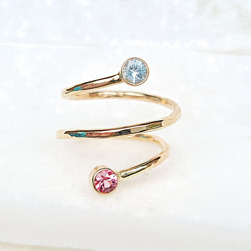 Sincerely Ginger Jewelry Aquamarine and Tourmaline Wrap Ring 14-Karat Yellow Gold