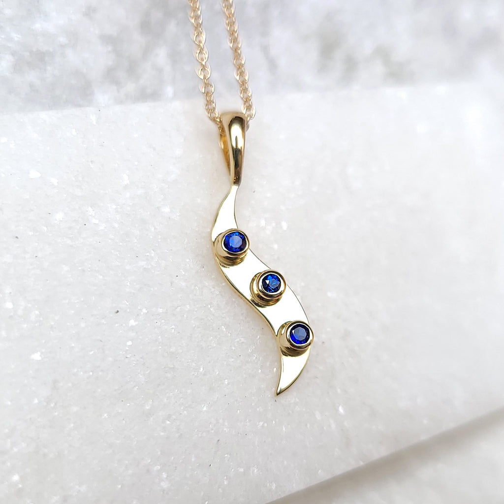 Sincerely Ginger Jewelry Blue Sapphire Wave Necklace in 14-Karat Gold