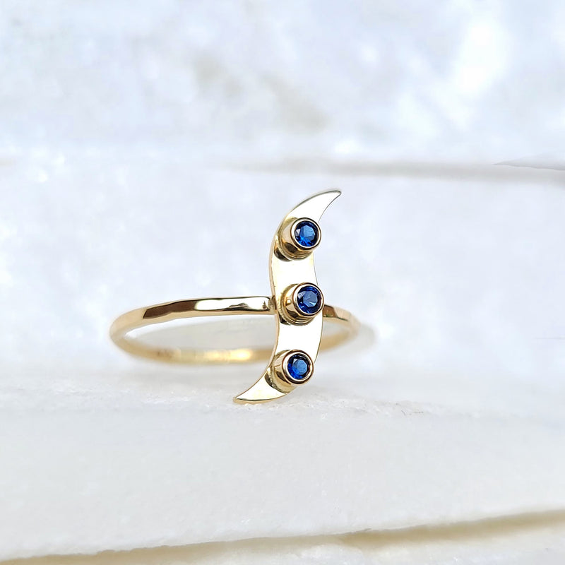 Sincerely Ginger Jewelry Sapphire Wave Ring in 14-Karat Gold