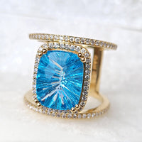 Sincerely Ginger Jewelry Iced Topaz Ring with Diamonds Size 8 in 14-Karat Gold