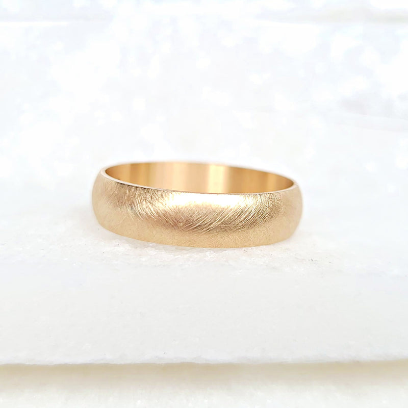 Sincerely Ginger Jewelry Brushed Wedding Band Ring in 14-Karat Gold