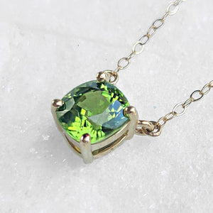 Sincerely Ginger Jewelry Cushion Peridot Necklace 14-Karat Yellow Gold