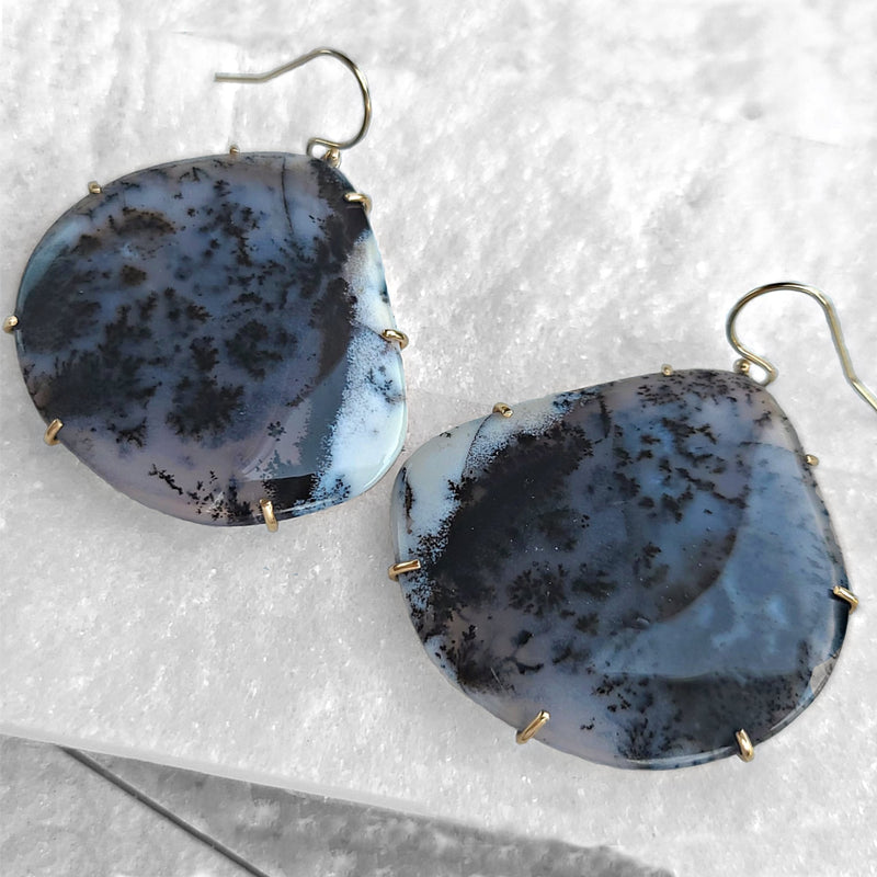 Sincerely Ginger Jewelry Dendritic Agate Earrings 14-Karat Yellow Gold