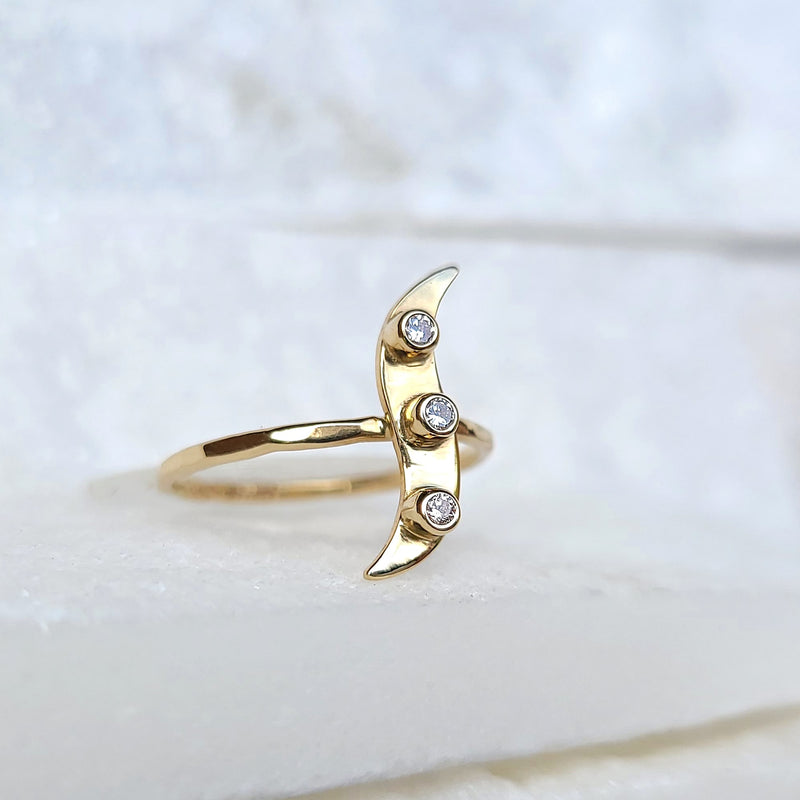 Sincerely Ginger Jewelry Diamond Wave Ring in 14-Karat Yellow Gold