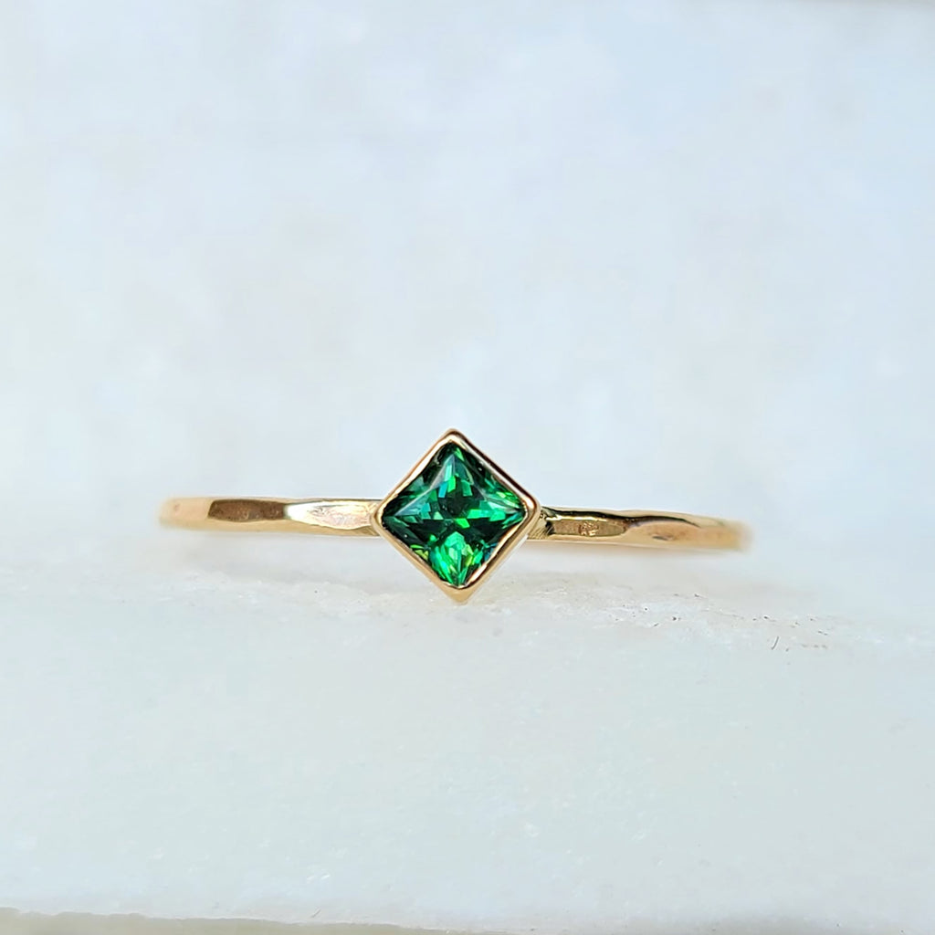 Sincerely Ginger Jewelry Green Topaz Stacking Ring in 14-Karat Yellow Gold