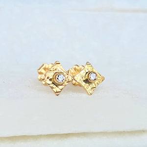 Sincerely Ginger Jewelry Organic Hammered Diamond Stud Earrings in 14-Karat Yellow Gold