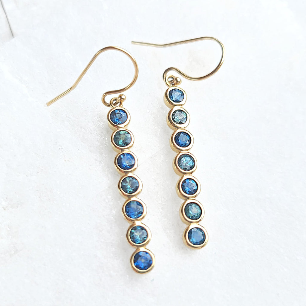 Sincerely Ginger Jewelry Hues of Sapphire Blue Earrings in 14-Karat Yellow Gold