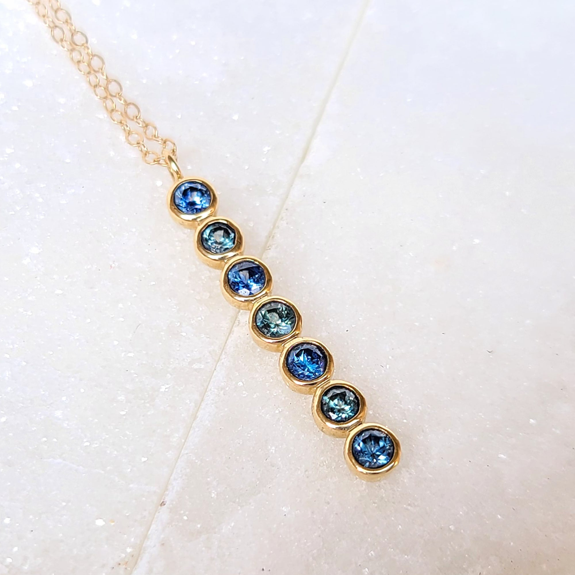 Image of 14K Gold Hues of Blue Sapphire Necklace
