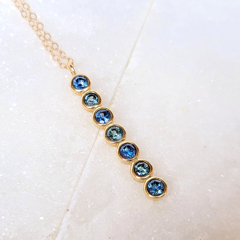Sincerely Ginger Jewelry Hues of Blue Montana Sapphire Necklace in 14-Karat Yellow Gold
