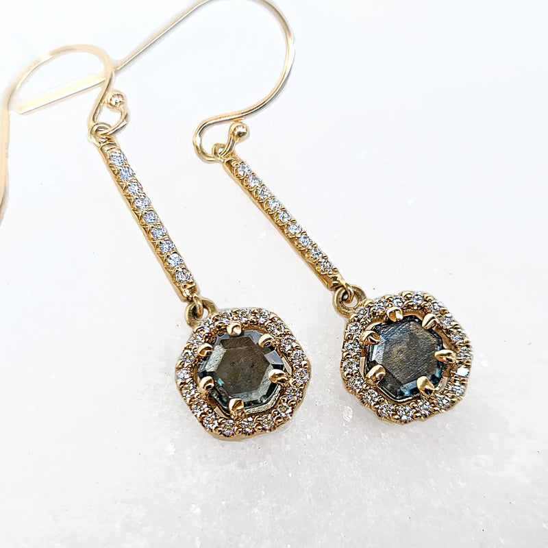 Sincerely Ginger Jewelry Montana Sapphire Diamond Earrings in 14-Karat Yellow Gold
