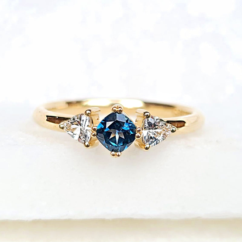 Sincerely Ginger Jewelry Montana and White Sapphire Engagement Ring in 14-Karat Yellow Gold