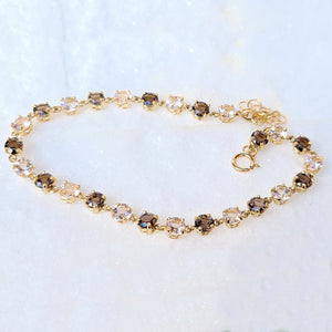Sincerely Ginger Jewelry Smoky Quartz and Morganite Tennis Bracelet in 14-Karat Yellow Gold
