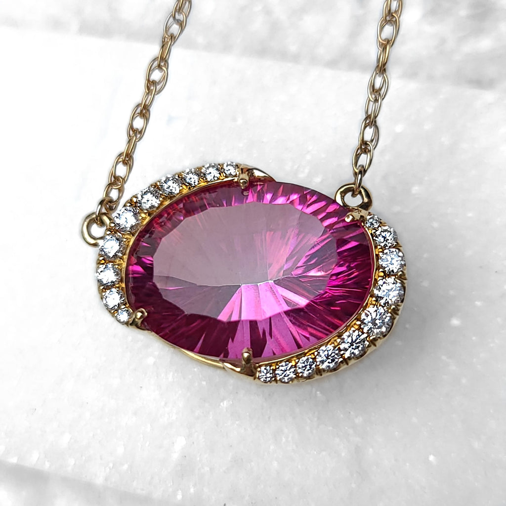 Sincerely Ginger Jewelry Pink Mystic Topaz Diamond 14-Karat Yellow Gold Necklace