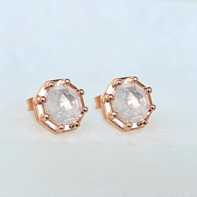 Sincerely Ginger Jewelry Icy Octagon Rosecut Diamond Stud Earrings 14-Karat Rose Gold