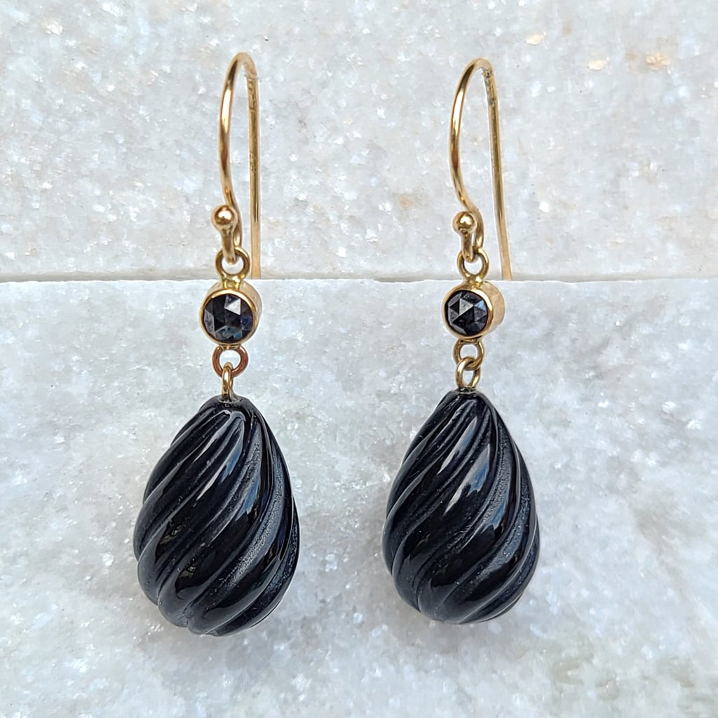 Sincerely Ginger Jewelry Onyx and Rose Cut Black Diamond Drop Earrings in 14-Karat Gold