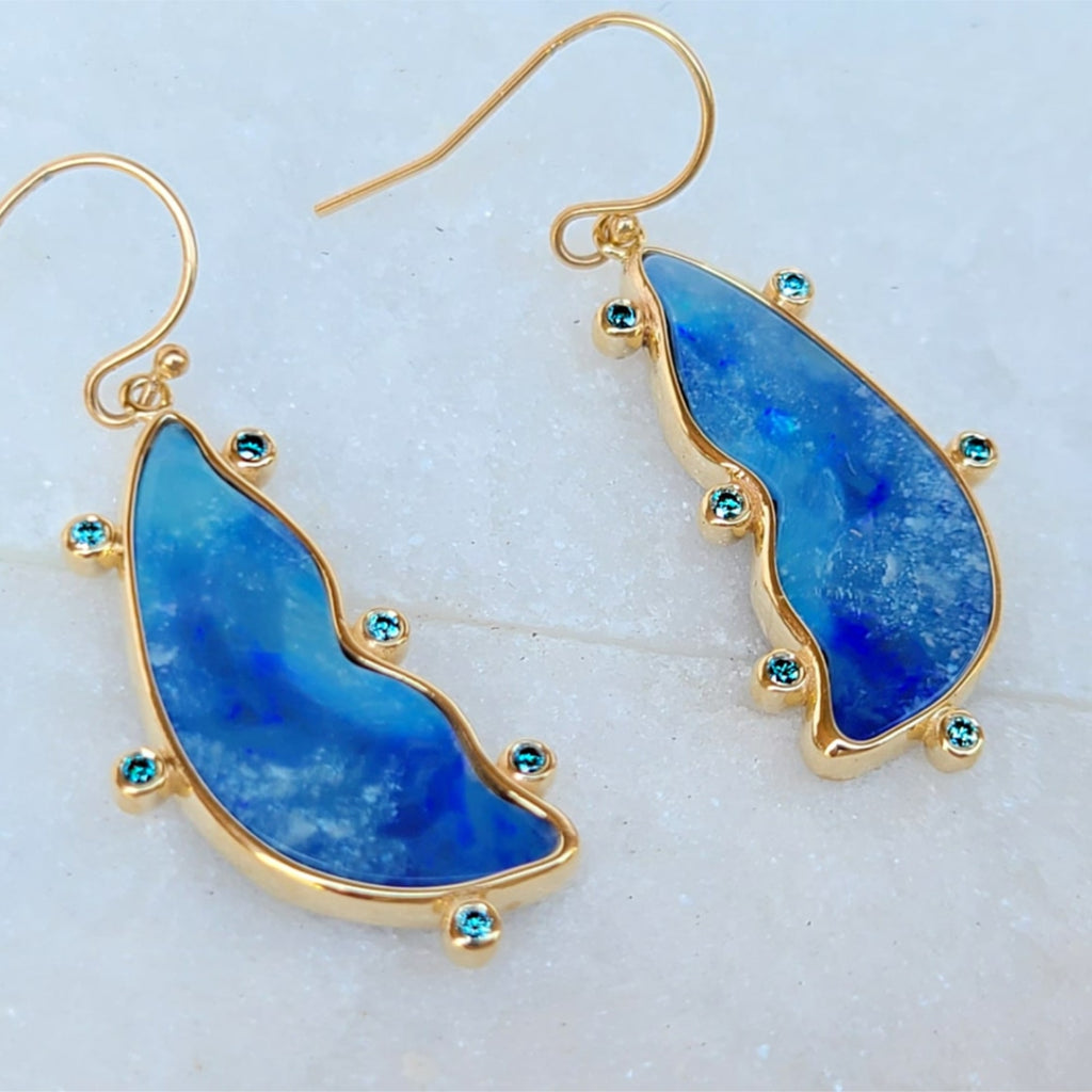 Sincerely Ginger Jewelry Fancy Opal Doublet and Blue Diamond Earrings 14-Karat Yellow Gold