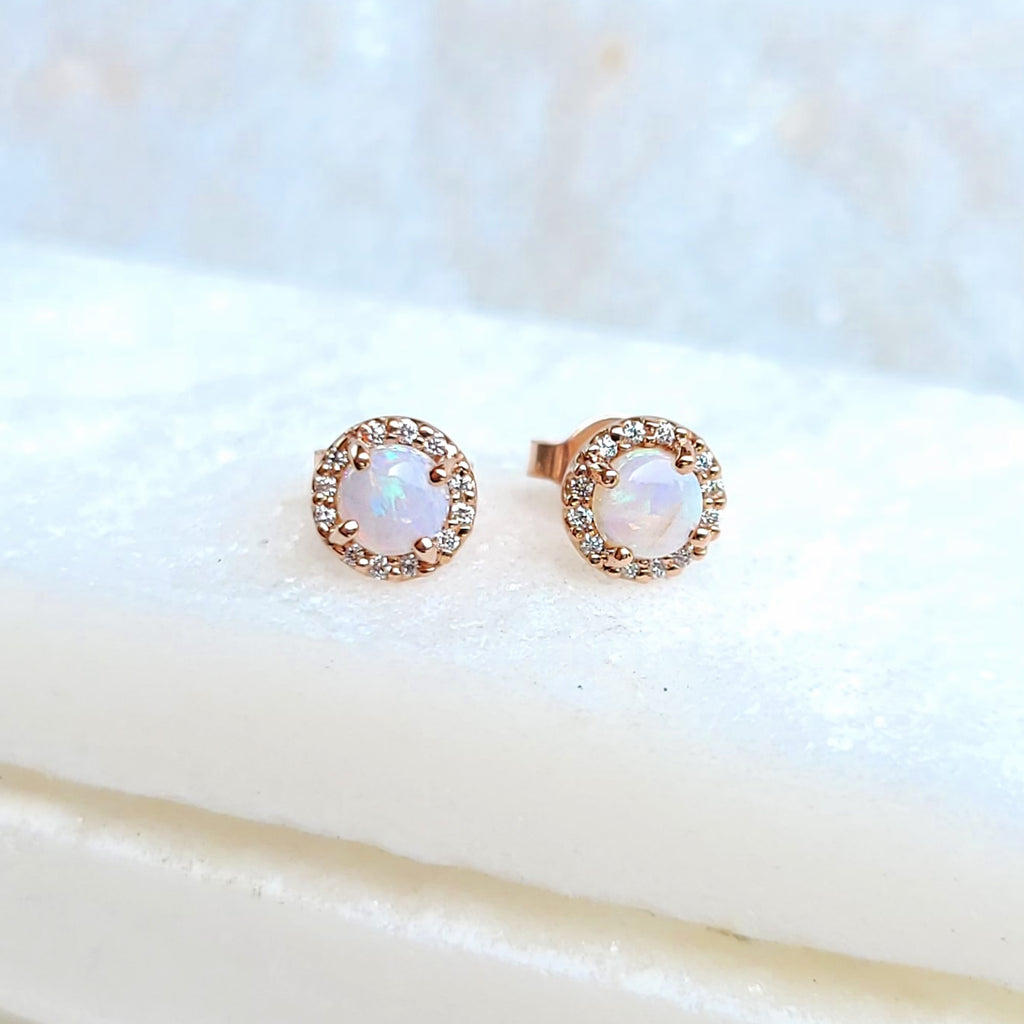 Sincerely Ginger Jewelry Opal and Diamond Stud Earrings in 14-Karat Rose Gold