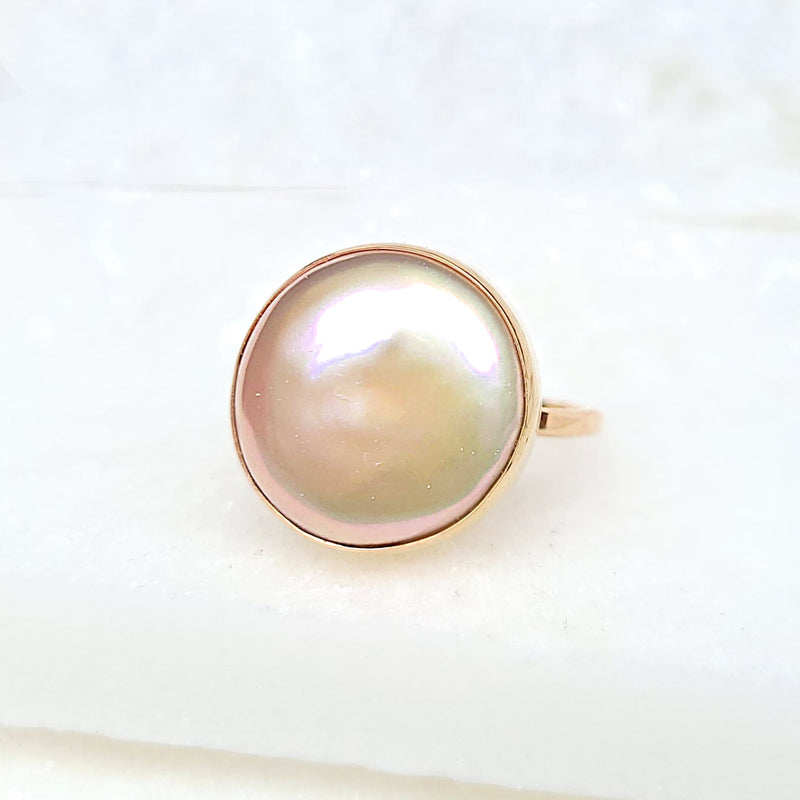 Sincerely Ginger Jewelry Pearl Button Ring 14-Karat Yellow Gold