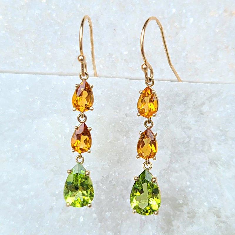Sincerely Ginger Jewelry Peridot and Citrine Drop Earrings in 14-Karat Gold