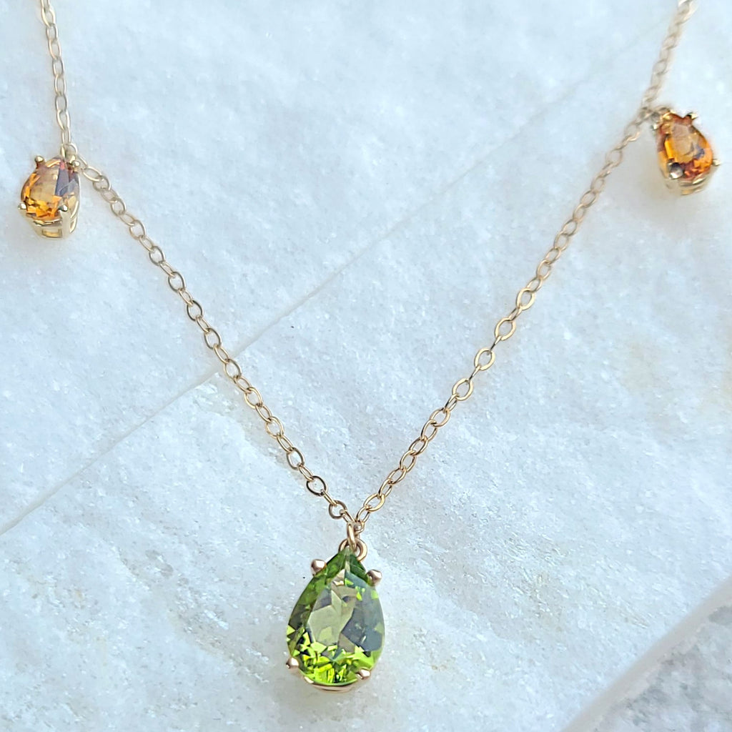 Sincerely Ginger Jewelry Peridot and Citrine Dangle Necklace in 14-Karat Gold