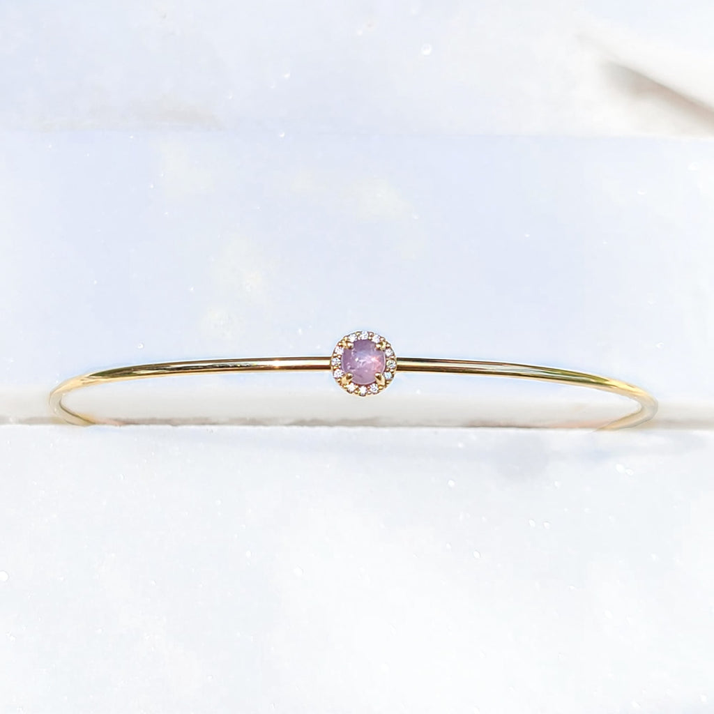 Sincerely Ginger Jewelry Pink Star Sapphire and Diamond Cuff in 14-Karat Gold