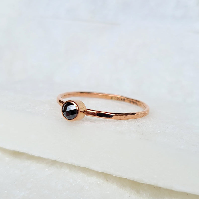 Sincerely Ginger Jewelry Rose-Cut Black Diamond 14-Karat Rose Gold Stacking Ring