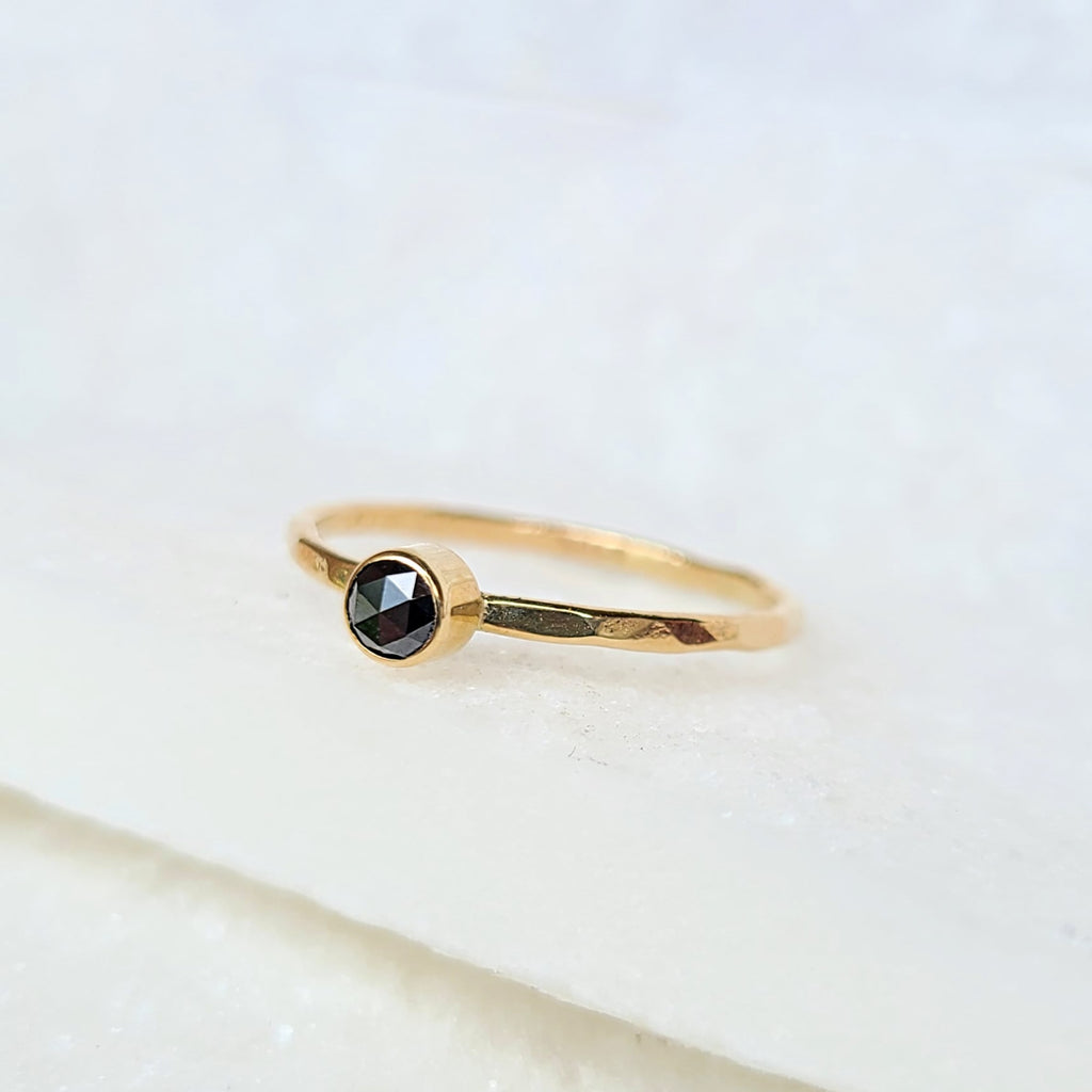 Sincerely Ginger Jewelry Rose-Cut Black Diamond 14-Karat Yellow Gold Stacking Ring