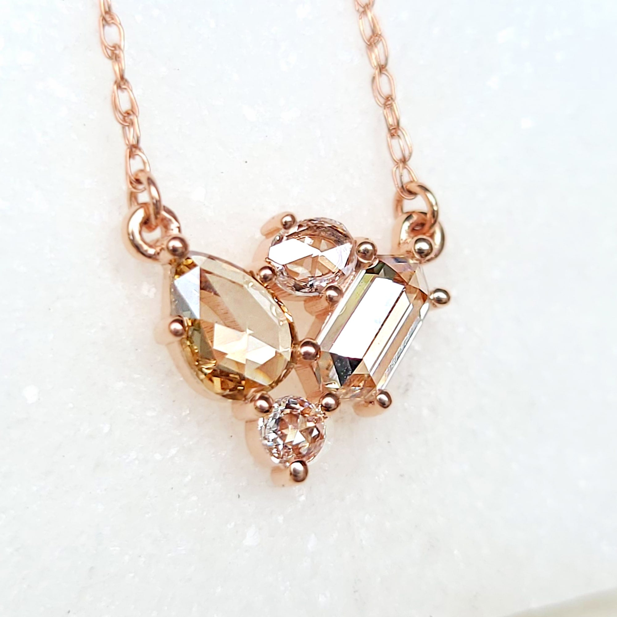 Image of Rosecut Four Diamond Cluster Necklace