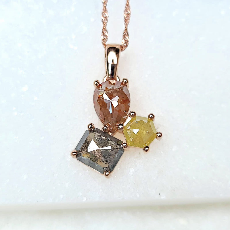 Sincerely Ginger Jewelry Rosecut Multicolored Diamond Cluster Necklace in 14-Karat Rose Gold