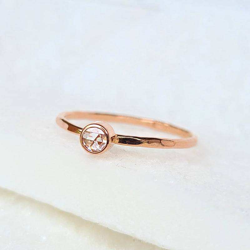 Sincerely Ginger Jewelry Rose-Cut White Diamond 14-Karat Rose Gold Stacking Ring