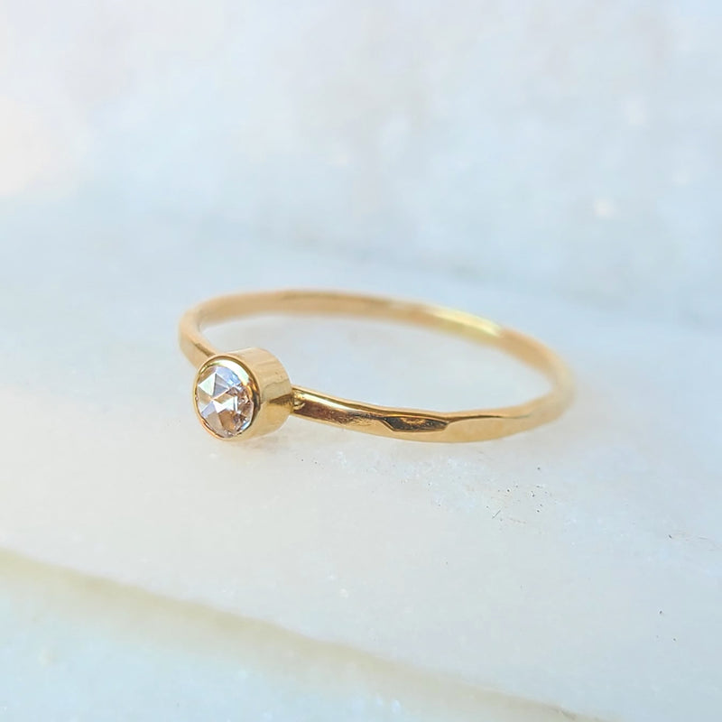 Sincerely Ginger Jewelry Rosecut White Diamond 14-Karat Yellow Gold Ring