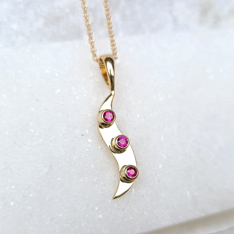 Sincerely Ginger Jewelry Ruby Wave Necklace in 14-Karat Gold