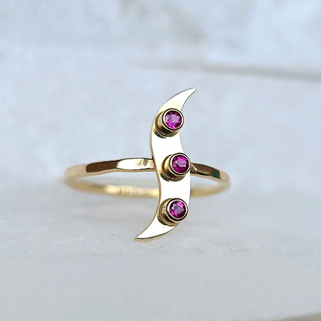 Sincerely Ginger Jewelry Ruby Wave Ring in 14-Karat Gold