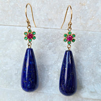 Sincerely Ginger Jewelry Lapis Drop Earrings with Flower of Ruby and Emeralds in 14-Karat Gold