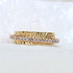 Sincerely Ginger Jewelry Salt and Pepper Diamond Spinner Ring in 14-Karat Rose and Yellow Gold