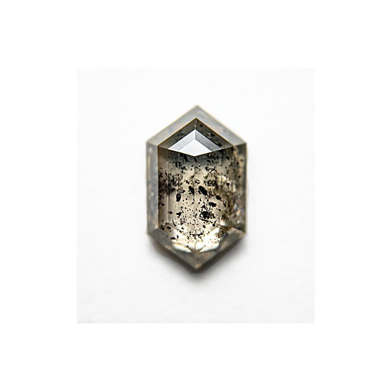 .83 Carat Salt and Pepper Hexagon Rosecut Diamond - For Custom Jewelry