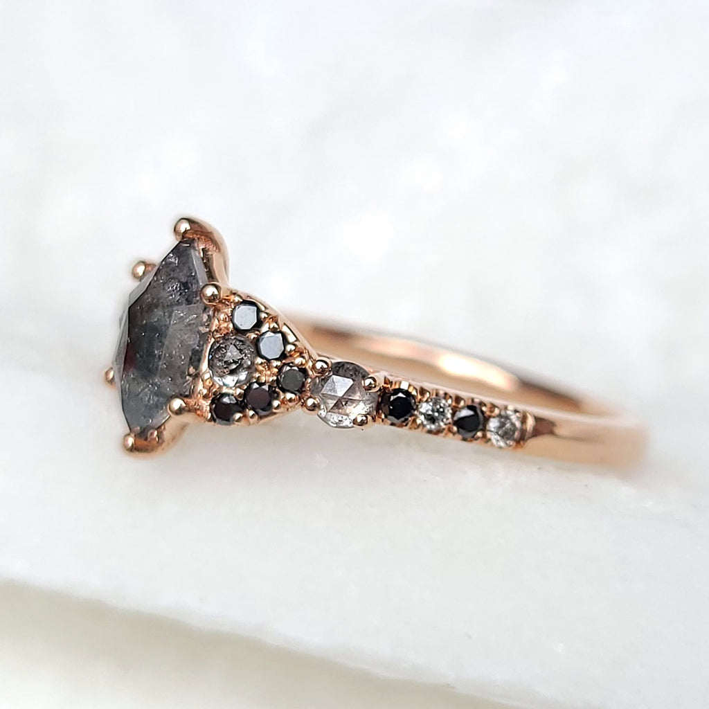 Sincerely Ginger Jewelry Salt and Pepper Hexagon Rosecut Diamond Engagement Ring 14-Karat Rose Gold