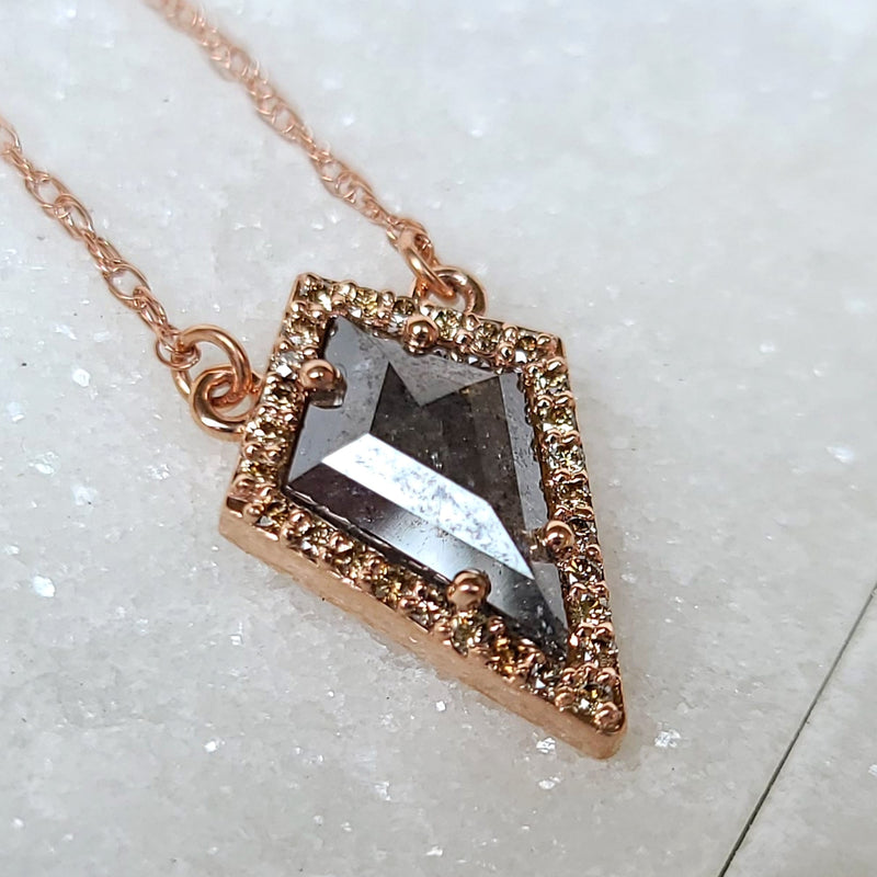 Sincerely Ginger Jewelry Salt and Pepper and Cognac Diamond Kite Necklace in 14-Karat Rose Gold