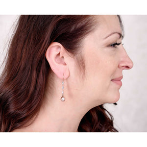 Sincerely Ginger Jewelry White Sapphire and Pearl Drop Earrings in 14-Karat Rose Gold