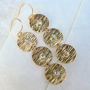 Sincerely Ginger Jewelry White Sapphire Water Earrings in 14-Karat Yellow Gold