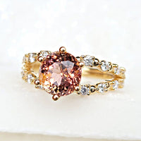 Sincerely Ginger Jewelry Fancy Tourmaline Diamond Engagement Ring in 14-Karat Yellow Gold