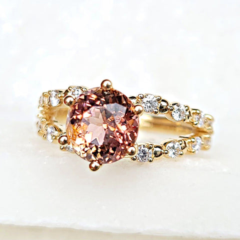 14K Rosecut White Diamond Rose Gold Stacking Ring
