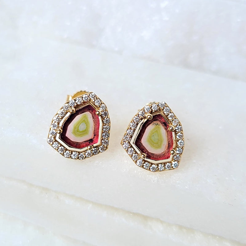 Sincerely Ginger Jewelry Watermelon Tourmaline and Diamond Stud Earrings in 14-Karat Gold